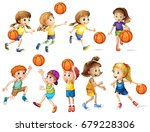 girls and boys playing...   Shutterstock .eps vector #679228306
