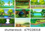 different scenes of forest and... | Shutterstock .eps vector #679228318