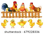 chicken family with five little ...   Shutterstock .eps vector #679228336