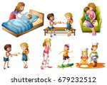 children and mother doing... | Shutterstock .eps vector #679232512