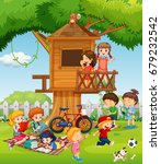 children playing in the garden... | Shutterstock .eps vector #679232542