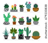 cute hand drawn cactus in the... | Shutterstock .eps vector #679233838
