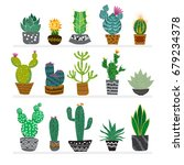 cute hand drawn cactus in the... | Shutterstock .eps vector #679234378