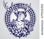 hand drawn realistic deer... | Shutterstock .eps vector #679242352