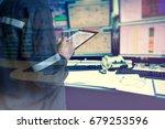 double exposure of  engineer or ... | Shutterstock . vector #679253596
