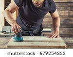 young man  processes the board...   Shutterstock . vector #679254322