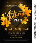 vector autumn party poster with ... | Shutterstock .eps vector #679260232