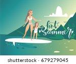 hot summer mother and daughter... | Shutterstock .eps vector #679279045