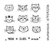cat doodle  hand drawn cats... | Shutterstock .eps vector #679292236
