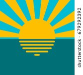 landscape sunset on water sea...   Shutterstock .eps vector #679292392