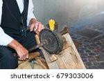 antique machine for grinding... | Shutterstock . vector #679303006