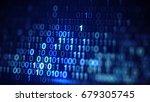 digital blue binary data code.... | Shutterstock . vector #679305745