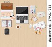 vector wooden working table... | Shutterstock .eps vector #679314358