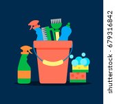 cleaning service flat... | Shutterstock .eps vector #679316842