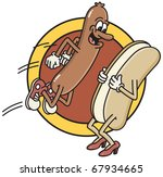 a smiling hot dog jumps into a... | Shutterstock .eps vector #67934665