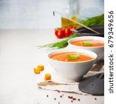 homemade tomato cream soup in... | Shutterstock . vector #679349656