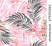 watercolor tropical leaves... | Shutterstock . vector #679352062