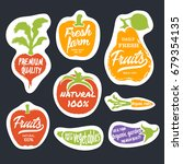 organic food hand drawn labels... | Shutterstock .eps vector #679354135