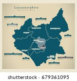 modern map   leicestershire... | Shutterstock .eps vector #679361095
