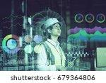 double exposure of woman labor... | Shutterstock . vector #679364806