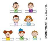 three generation family sticker ...   Shutterstock .eps vector #679369846
