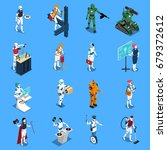 robot professions isometric... | Shutterstock .eps vector #679372612