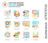 flat line personal computer... | Shutterstock .eps vector #679373722