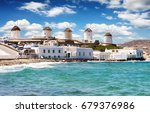 famous windmills over the town... | Shutterstock . vector #679376986