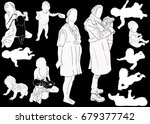 illustration with mother and... | Shutterstock .eps vector #679377742