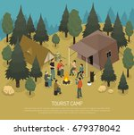 tourist camp in forest with... | Shutterstock .eps vector #679378042