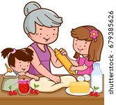 grandmother and children... | Shutterstock . vector #679385626