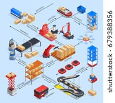 automatic warehouse robots... | Shutterstock .eps vector #679388356