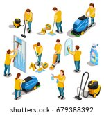 cleaning people isometric...