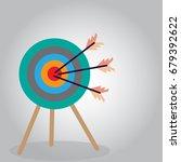 threes arrow hitting goal... | Shutterstock .eps vector #679392622