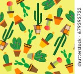 yellow background with cactus... | Shutterstock . vector #679393732