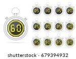 digital neon stopwatch | Shutterstock .eps vector #679394932