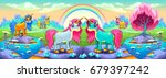 happy unicorns in a landscape... | Shutterstock .eps vector #679397242
