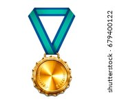 gold medal with blue ribbon.... | Shutterstock .eps vector #679400122