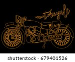 old vintage motorcycle | Shutterstock .eps vector #679401526