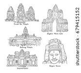 angkor temple  cambodia sketch... | Shutterstock .eps vector #679415152