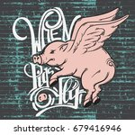 when pigs fly. quote... | Shutterstock .eps vector #679416946