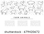 farm animals flat linear on a... | Shutterstock .eps vector #679420672