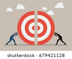 two businessmen pushing a... | Shutterstock .eps vector #679421128