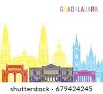 guadalajara mx skyline pop in...   Shutterstock .eps vector #679424245