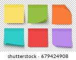 Stock vector multicolor notes isolated on transparent background post it colored sticky note set vector 679424908