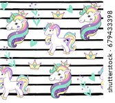 unicorn on a striped background ... | Shutterstock .eps vector #679433398
