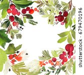 christmas watercolor card with... | Shutterstock . vector #679470196