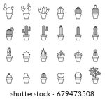 cactus outline icons
