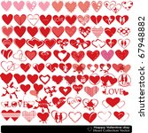 collection of beautiful hearts... | Shutterstock .eps vector #67948882