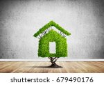 house shaped green tree as real ... | Shutterstock . vector #679490176